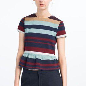 ZARA Trafuluc Maroon Aqua Stripe Peplum Top Shirt